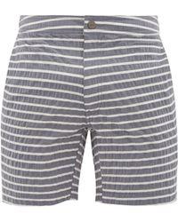 Onia Calder Striped Seersucker Swim Shorts - Multicolour