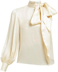 Erdem Venetia One-sleeve Pussybow Satin Blouse - White