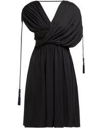 Lanvin Draped Tasseled Crepe Dress - Black