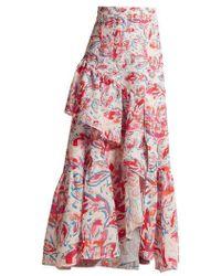 Peter Pilotto - Leaf-print Ruffled Crepe Maxi Skirt - Lyst