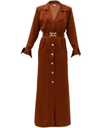 Dodo Bar Or タマラ サテンシャツドレス - ブラウン