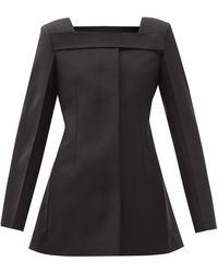 Givenchy スクエアネック ウールグランドプードル ジャケット - ブラック