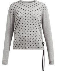 La Fetiche Polka-dot Cashmere Sweater - Gray