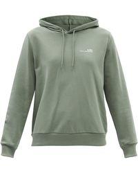 A.P.C. Item Logo-print Cotton-jersey Hooded Sweatshirt - Green