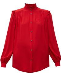 N°21 Ruffle Trimmed Crepe Blouse - Red