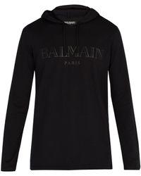 Balmain - Pull a capuche et a logo noir - Lyst