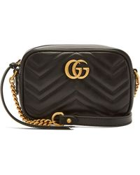 Gucci GG Marmont Mini Quilted-leather Cross-body Bag - Black
