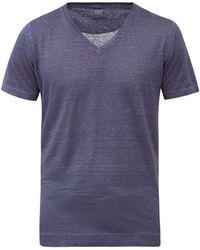 120% Lino 120% Lino Vネック リネンtシャツ - ブルー