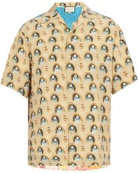 Gucci - Viva! Volleyball Print Silk Bowling Shirt - Lyst