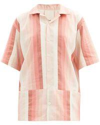 Marrakshi Life Gradient-stripe Cotton-blend Short-sleeved Shirt - Pink
