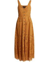 Saloni - Fara Broderie-anglaise Cotton Midi Dress - Lyst