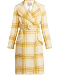 ALEXACHUNG - Belted Checked Wool Blend Coat - Lyst