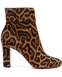 Christian Louboutin - Moulamax 85 Leopard Print Pony Hair Ankle Boots - Lyst