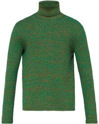 Gucci Roll Neck Metallic Cotton Blend Jumper - Green
