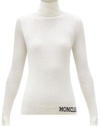 Moncler - ロゴ タートルネック リブウールセーター - Lyst