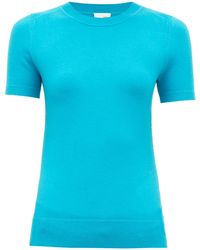 JoosTricot Peachskin Cotton-blend Short-sleeve Sweater - Blue