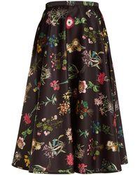 N°21 | Botanical-print Duchess-satin A-line Skirt | Lyst