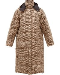 Gucci Logo-jacquard Down-filled Coat - Natural
