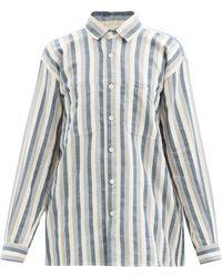 Marrakshi Life Striped Cotton-blend Oxford Shirt - Blue