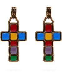 Gucci - Enamelled Cross Earrings - Lyst