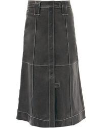 Ganni スリットヘム トップステッチ レザースカート - ブラック