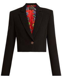 Versace - Notch-lapel Silk Cropped Blazer - Lyst
