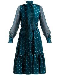 Luisa Beccaria - Polka Dot Silk Midi Dress - Lyst