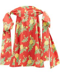 BERNADETTE Holly Off-the-shoulder Floral-print Mini Dress - Red
