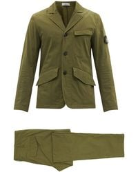 Stone Island Tela Organic-cotton-blend Canvas Suit - Green