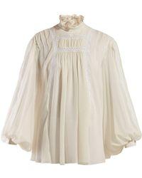 Giambattista Valli Broderie Anglaise Silk Crepe Blouse - White