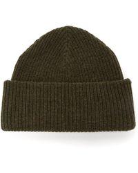 Ganni Stitched-logo Ribbed Wool-blend Beanie - Green