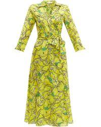 Diane von Furstenberg Robe portefeuille en coton à imprimé citron - Vert