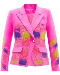 Germanier Crystal-embellished Upcycled Twill Blazer - Pink