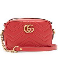Gucci GG Marmont Matelassé Leather Mini Shoulder Bag - Red