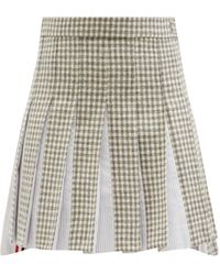 Thom Browne プリーツ チェック ウールツイードスカート - グレー