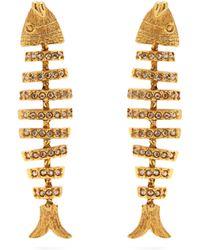 Oscar de la Renta - Fish Crystal Embellished Earrings - Lyst