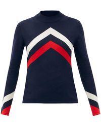 Perfect Moment シェブロンストライプ メリノウールジャージーセーター - ブルー
