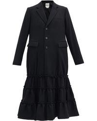 Noir Kei Ninomiya Peplum-hem Milled-wool Single-breasted Coat - Black