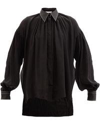 JW Anderson ギャザー リヨセルブレンド クレープデシンシャツ - ブラック