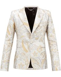 Paco Rabanne Single-breasted Paisley-brocade Suit Jacket - Natural
