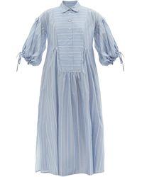 Evi Grintela Balloon-sleeve Striped Cotton Shirt Dress - Blue