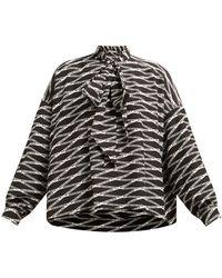 b65197f61966ee Lyst - Balenciaga Tie-neck Silk-crepe Blouse in Black