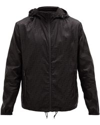 Fendi Ff-print Hooded Windbreaker Jacket - Black