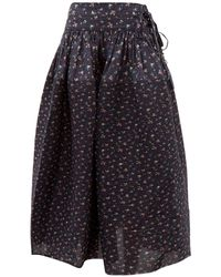 Horror Vacui Toga Pintucked Floral Print Cotton Skirt - Blue