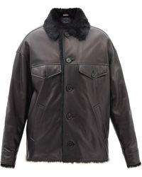 Marni オーバーサイズ レザージャケット - ブラック