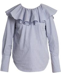 Sea - Ruffled-yoke Striped Cotton Shirt - Lyst