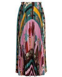Valentino - Counting 6-print Pleated Silk Skirt - Lyst