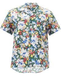 YMC マリック フローラル コットンシルクシャツ - ブルー