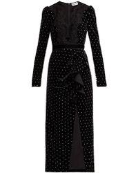 Self-Portrait Crystal Embellished Velvet Midi Dress - Black