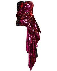 Halpern - Sequinned Asymmetric-draped Bustier Top - Lyst